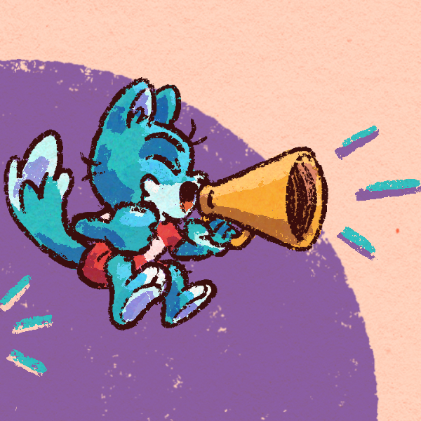 Close-up from the header image: a cartoon fox enthusiastically yells through a megaphone